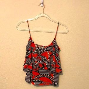 T-Bags Los Angeles Tiered Patterned Tank Top XS